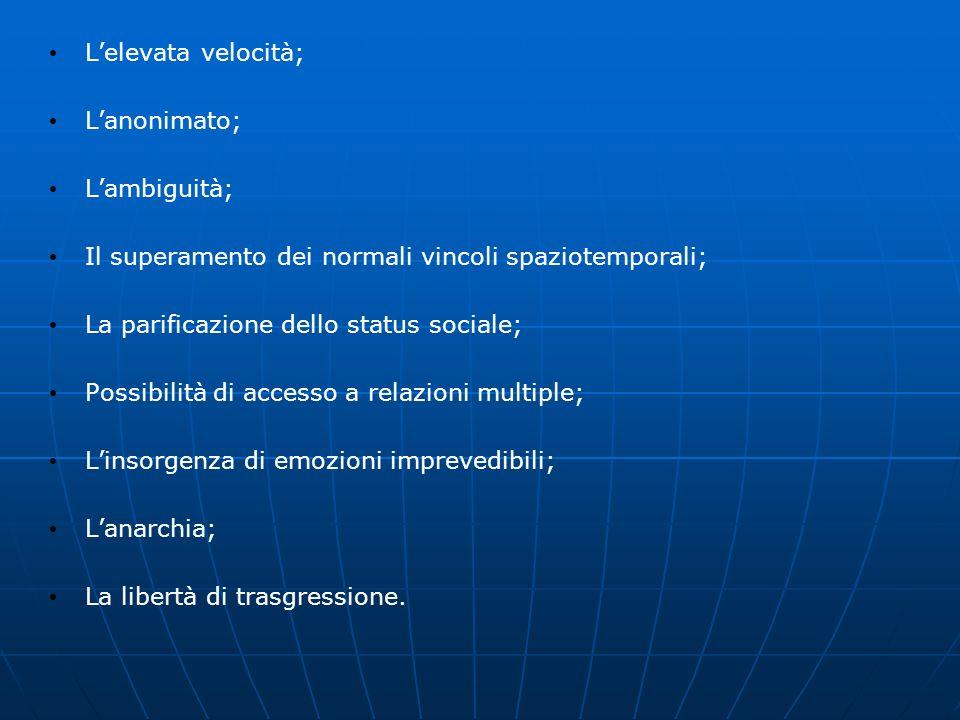 Lelevata velocità; Lanonimato; Lambiguità; Il superamento dei normali vincoli spaziotemporali; La parificazione dello status sociale; Possibilità di a