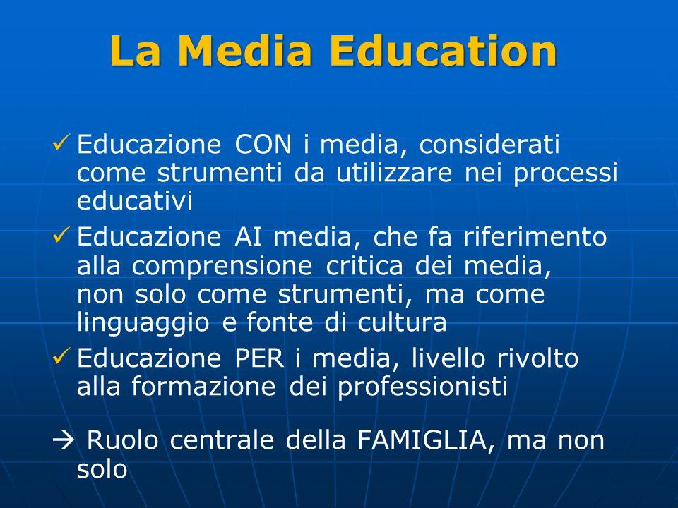 La Media Education Educazione CON i media, considerati come strumenti da utilizzare nei processi educativi Educazione AI media, che fa riferimento all