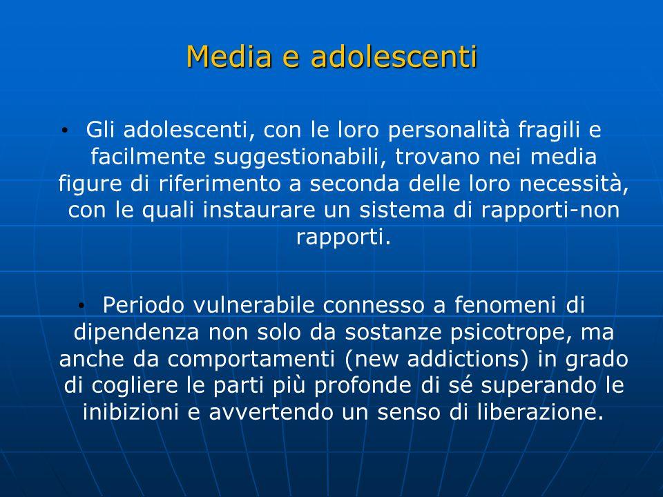 Media e adolescenti Gli adolescenti, con le loro personalità fragili e facilmente suggestionabili, trovano nei media figure di riferimento a seconda d