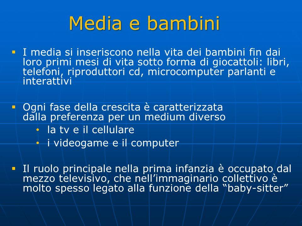 Dieta Mediatica (2012) Obiettivo: indagare la quantità di tempo che i bambini e gli adolescenti trascorrono con i differenti mezzi di comunicazione e la frequenza del loro utilizzo nelle diverse ore della giornata.
