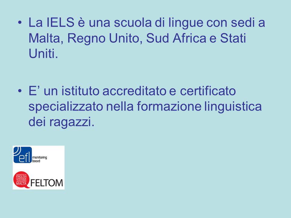 La IELS è una scuola di lingue con sedi a Malta, Regno Unito, Sud Africa e Stati Uniti. E un istituto accreditato e certificato specializzato nella fo