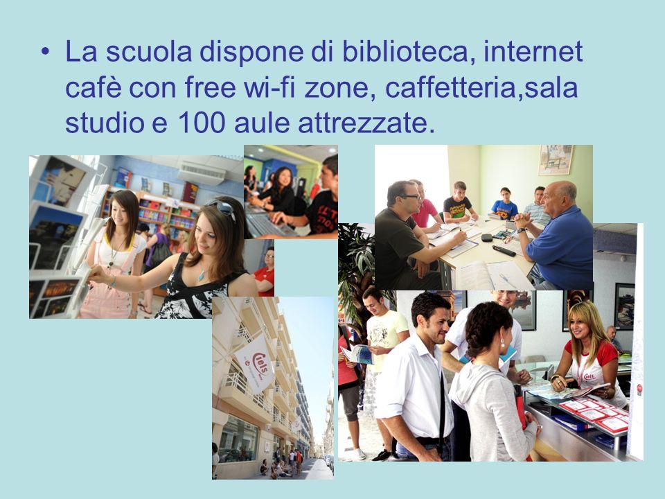 La scuola dispone di biblioteca, internet cafè con free wi-fi zone, caffetteria,sala studio e 100 aule attrezzate.