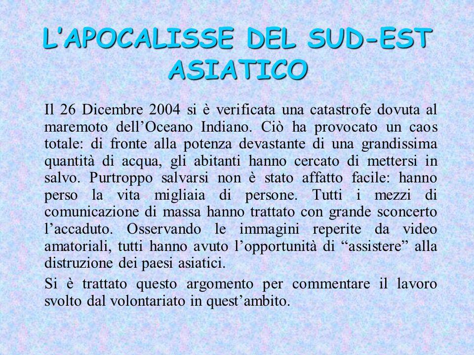 LAPOCALISSE DEL SUD-EST ASIATICO Il 26 Dicembre 2004 si è verificata una catastrofe dovuta al maremoto dellOceano Indiano. Ciò ha provocato un caos to