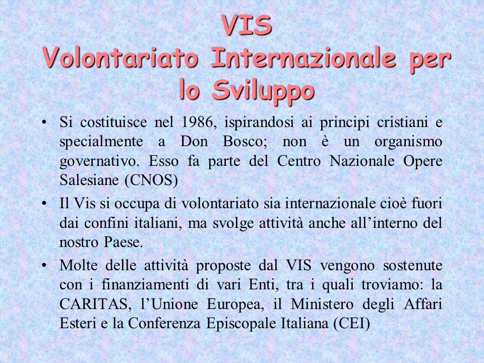 VIS Volontariato Internazionale per lo Sviluppo Si costituisce nel 1986, ispirandosi ai principi cristiani e specialmente a Don Bosco; non è un organi