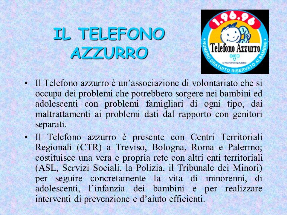 IL TELEFONO AZZURRO Il Telefono azzurro è unassociazione di volontariato che si occupa dei problemi che potrebbero sorgere nei bambini ed adolescenti