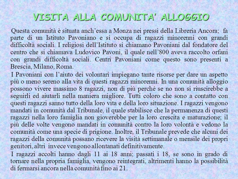 VISITA ALLA COMUNITA ALLOGGIO Questa comunità è situata anchessa a Monza nei pressi della Libreria Ancora; fa parte di un Istituto Pavoniano e si occu