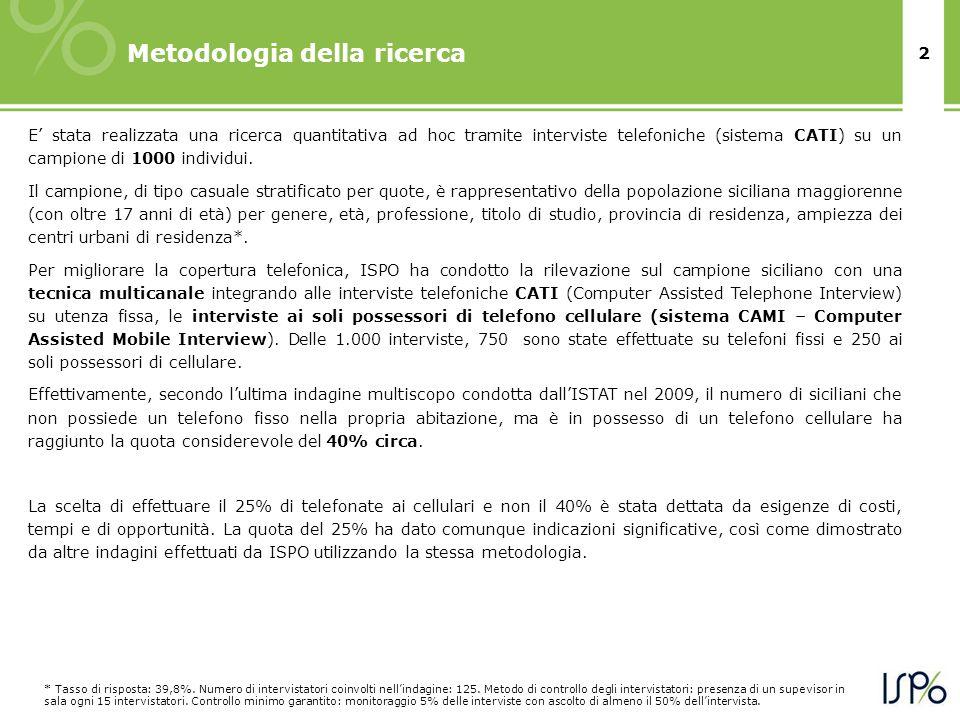 2 Metodologia della ricerca E stata realizzata una ricerca quantitativa ad hoc tramite interviste telefoniche (sistema CATI) su un campione di 1000 individui.