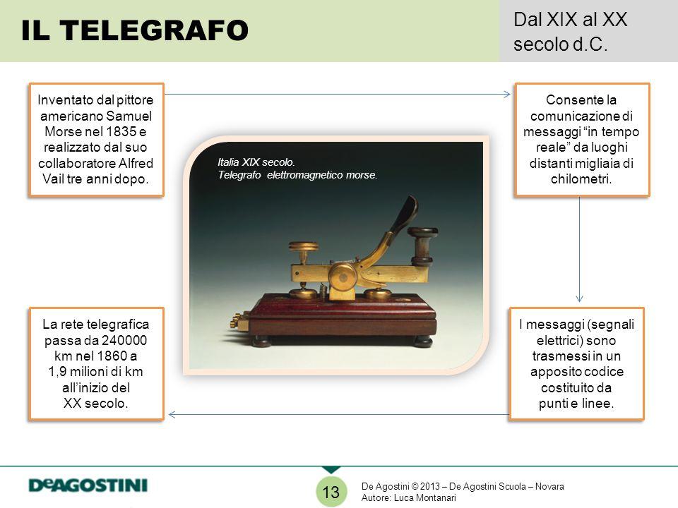 IL TELEGRAFO Dal XIX al XX secolo d.C. 13 Italia XIX secolo. Telegrafo elettromagnetico morse. Inventato dal pittore americano Samuel Morse nel 1835 e