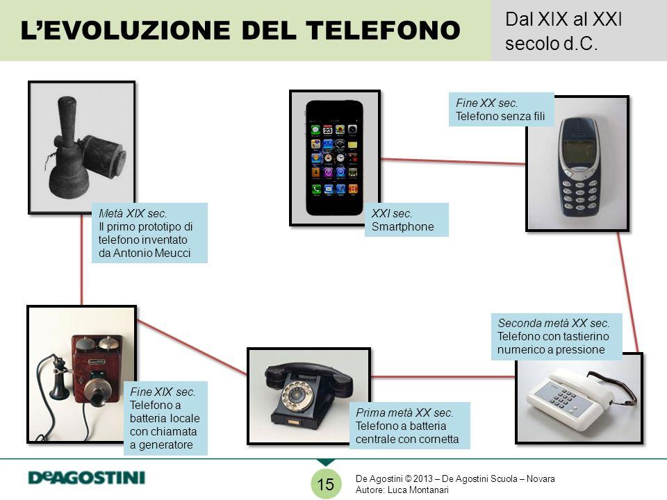 LEVOLUZIONE DEL TELEFONO Dal XIX al XXI secolo d.C. 15 Fine XIX sec. Telefono a batteria locale con chiamata a generatore Seconda metà XX sec. Telefon