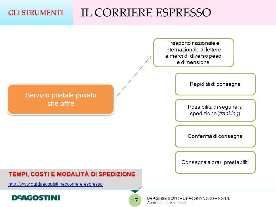 TEMPI, COSTI E MODALITÀ DI SPEDIZIONE http://www.guidaacquisti.net/corriere-espresso IL CORRIERE ESPRESSO GLI STRUMENTI 17 Servizio postale privato ch