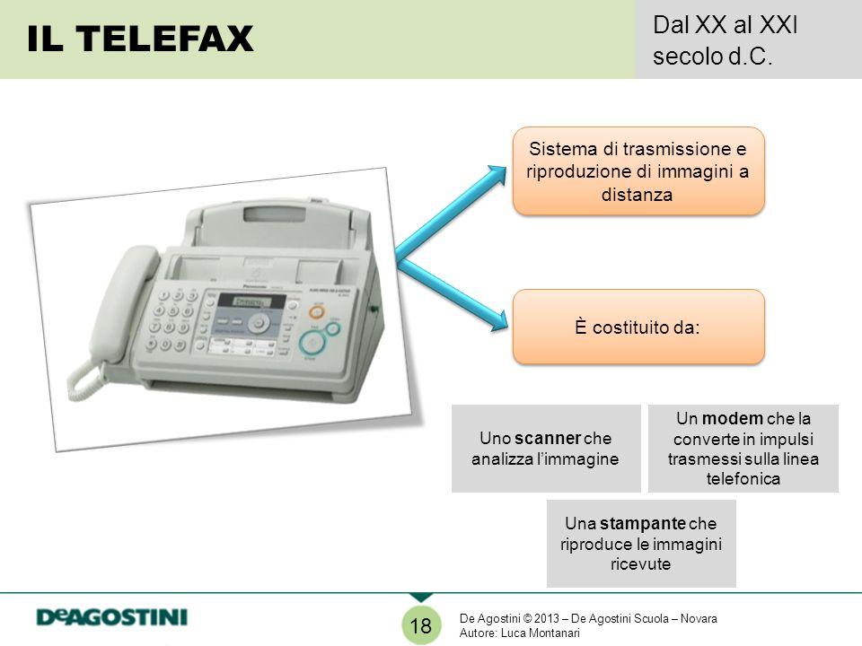 Una stampante che riproduce le immagini ricevute IL TELEFAX Dal XX al XXI secolo d.C. 18 Sistema di trasmissione e riproduzione di immagini a distanza