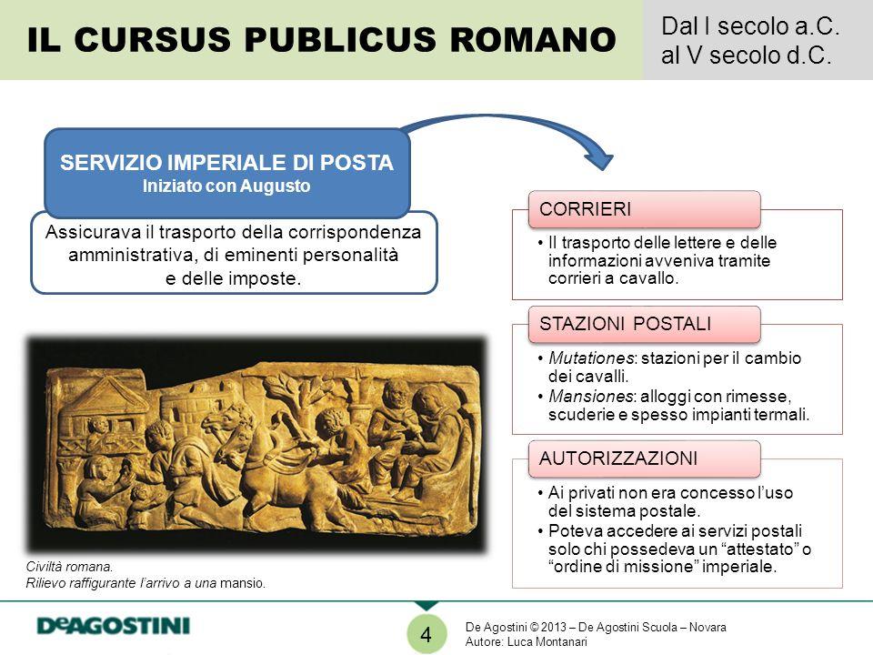 Assicurava il trasporto della corrispondenza amministrativa, di eminenti personalità e delle imposte. 4 IL CURSUS PUBLICUS ROMANO Dal I secolo a.C. al
