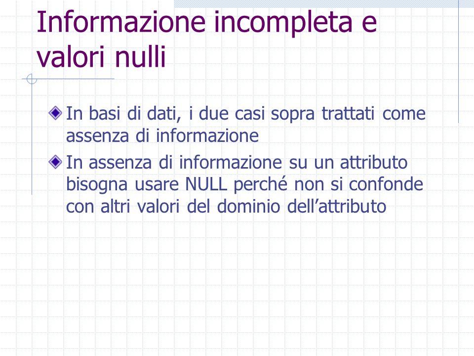 Informazione incompleta e valori nulli In basi di dati, i due casi sopra trattati come assenza di informazione In assenza di informazione su un attributo bisogna usare NULL perché non si confonde con altri valori del dominio dellattributo
