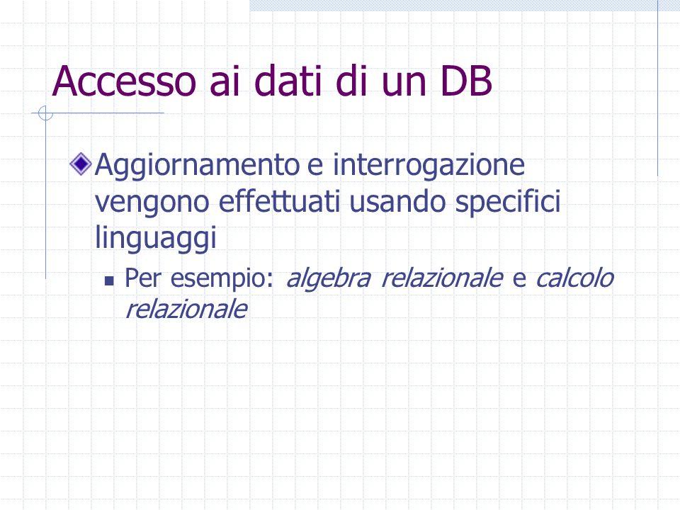 Accesso ai dati di un DB Aggiornamento e interrogazione vengono effettuati usando specifici linguaggi Per esempio: algebra relazionale e calcolo relazionale