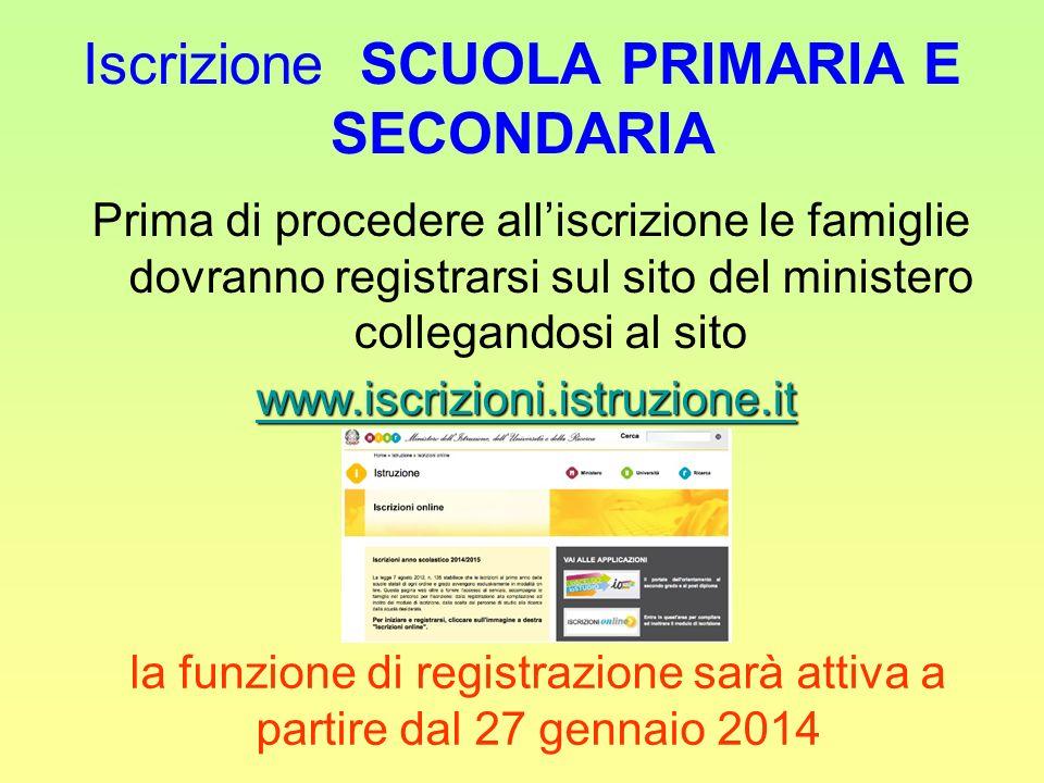 Iscrizione SCUOLA PRIMARIA E SECONDARIA Prima di procedere alliscrizione le famiglie dovranno registrarsi sul sito del ministero collegandosi al sito