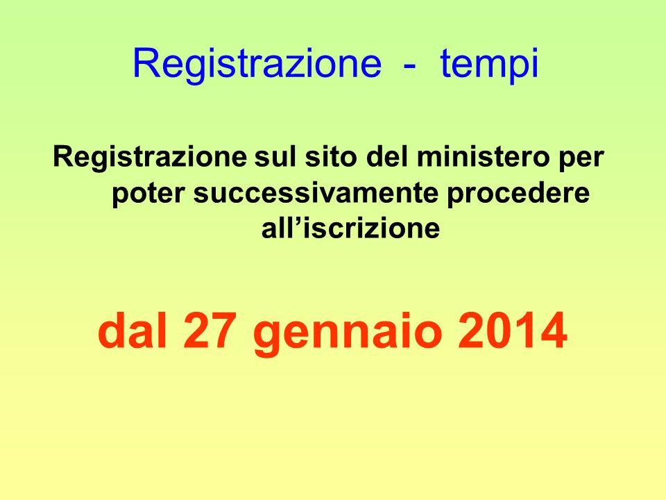 Registrazione - tempi Registrazione sul sito del ministero per poter successivamente procedere alliscrizione dal 27 gennaio 2014