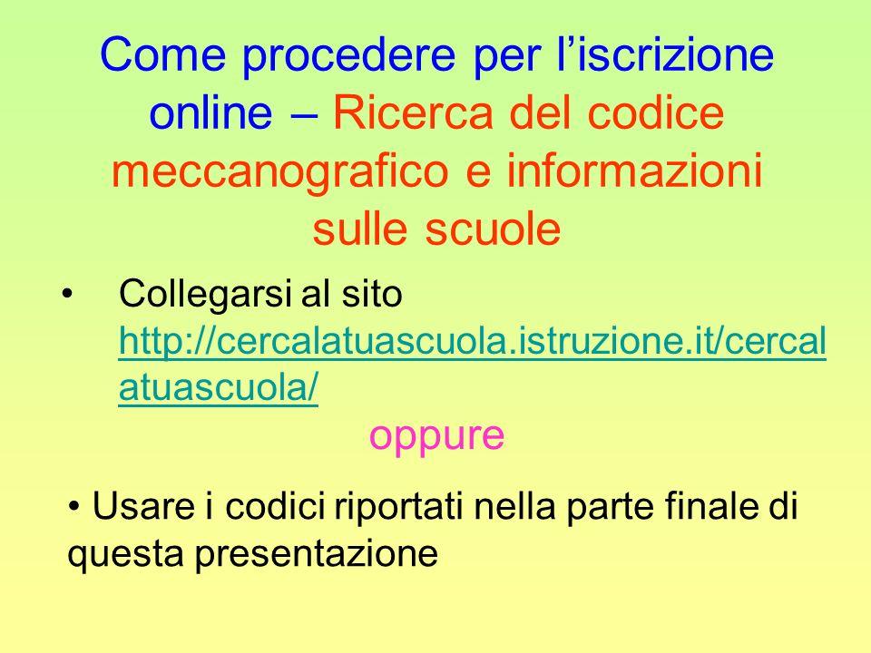 Come procedere per liscrizione online – Ricerca del codice meccanografico e informazioni sulle scuole Collegarsi al sito http://cercalatuascuola.istru