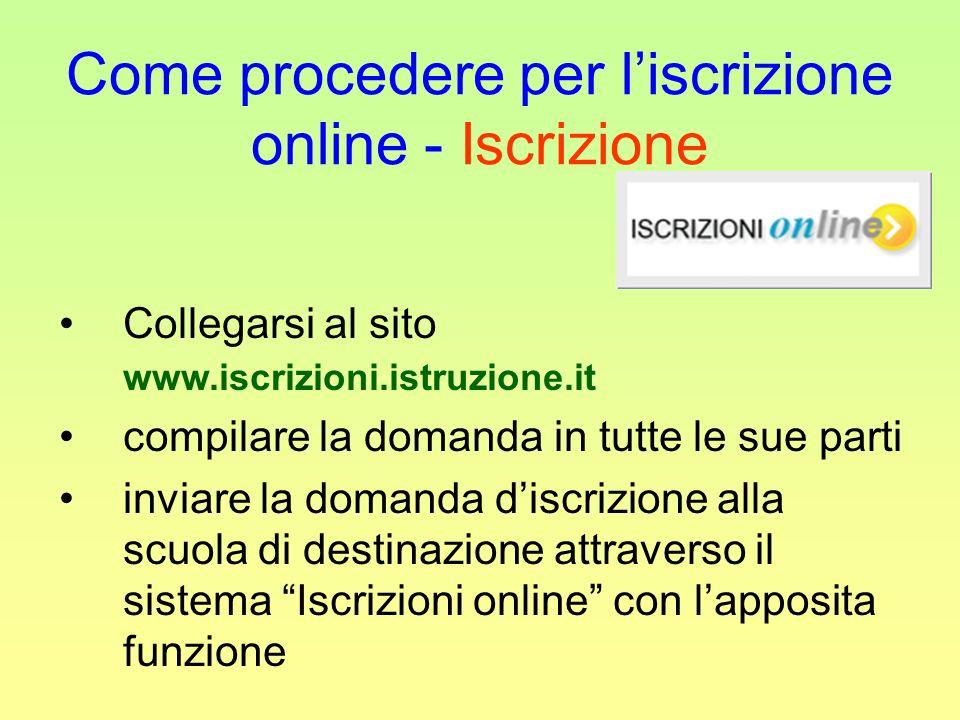 Come procedere per liscrizione online - Iscrizione Collegarsi al sito www.iscrizioni.istruzione.it compilare la domanda in tutte le sue parti inviare