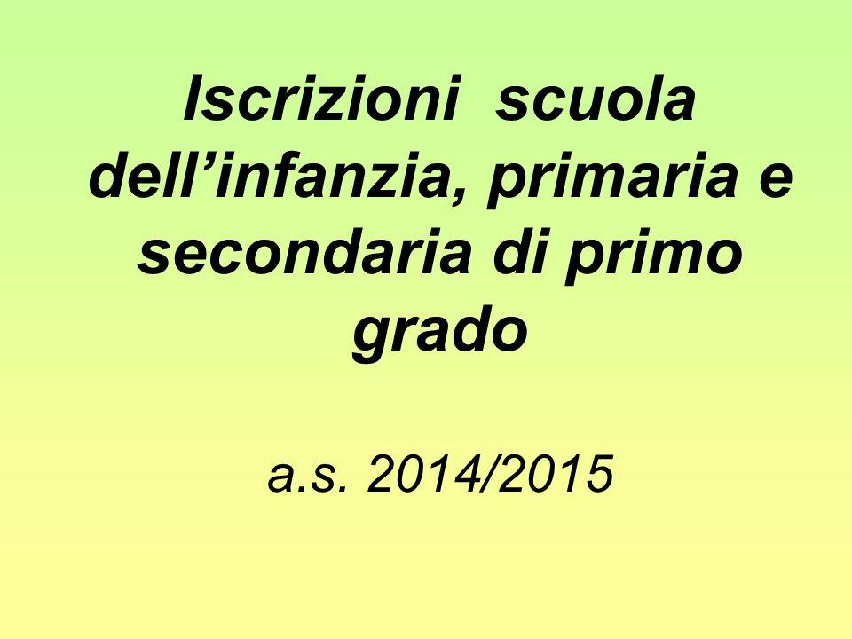 Iscrizioni scuola dellinfanzia, primaria e secondaria di primo grado a.s. 2014/2015