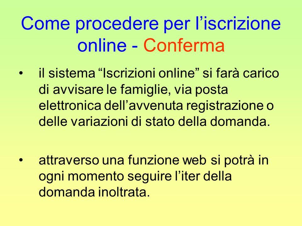 Come procedere per liscrizione online - Conferma il sistema Iscrizioni online si farà carico di avvisare le famiglie, via posta elettronica dellavvenuta registrazione o delle variazioni di stato della domanda.