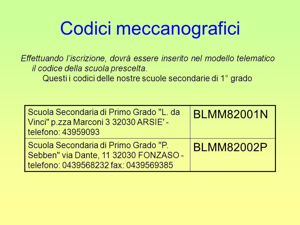 Codici meccanografici Effettuando liscrizione, dovrà essere inserito nel modello telematico il codice della scuola prescelta. Questi i codici delle no