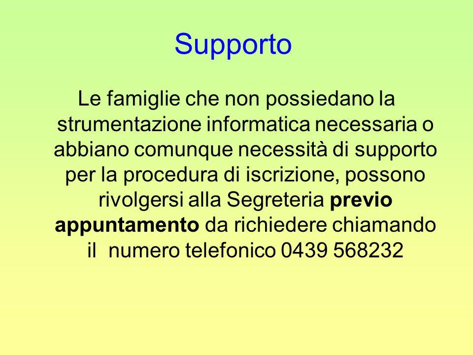 Supporto Le famiglie che non possiedano la strumentazione informatica necessaria o abbiano comunque necessità di supporto per la procedura di iscrizione, possono rivolgersi alla Segreteria previo appuntamento da richiedere chiamando il numero telefonico 0439 568232
