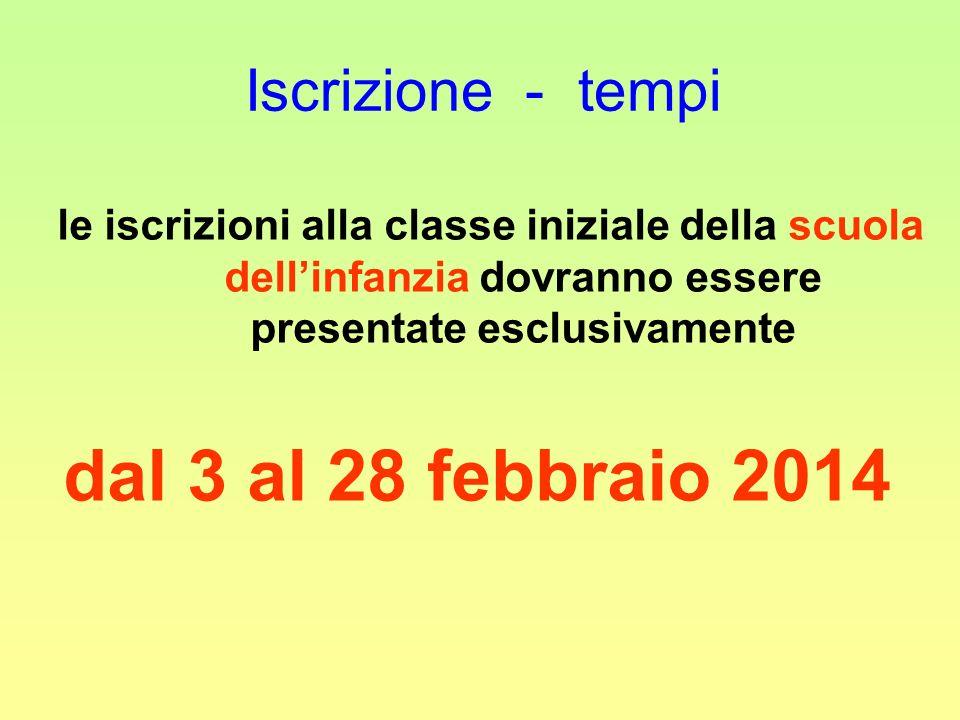 Iscrizione - tempi le iscrizioni alla classe iniziale della scuola dellinfanzia dovranno essere presentate esclusivamente dal 3 al 28 febbraio 2014