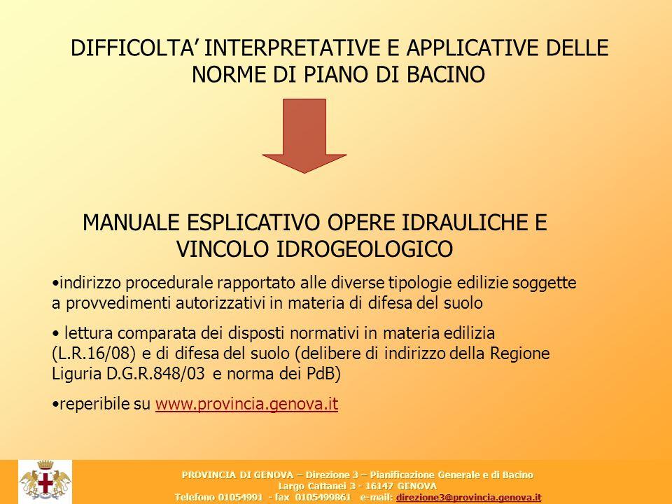 12 DIFFICOLTA INTERPRETATIVE E APPLICATIVE DELLE NORME DI PIANO DI BACINO MANUALE ESPLICATIVO OPERE IDRAULICHE E VINCOLO IDROGEOLOGICO indirizzo proce