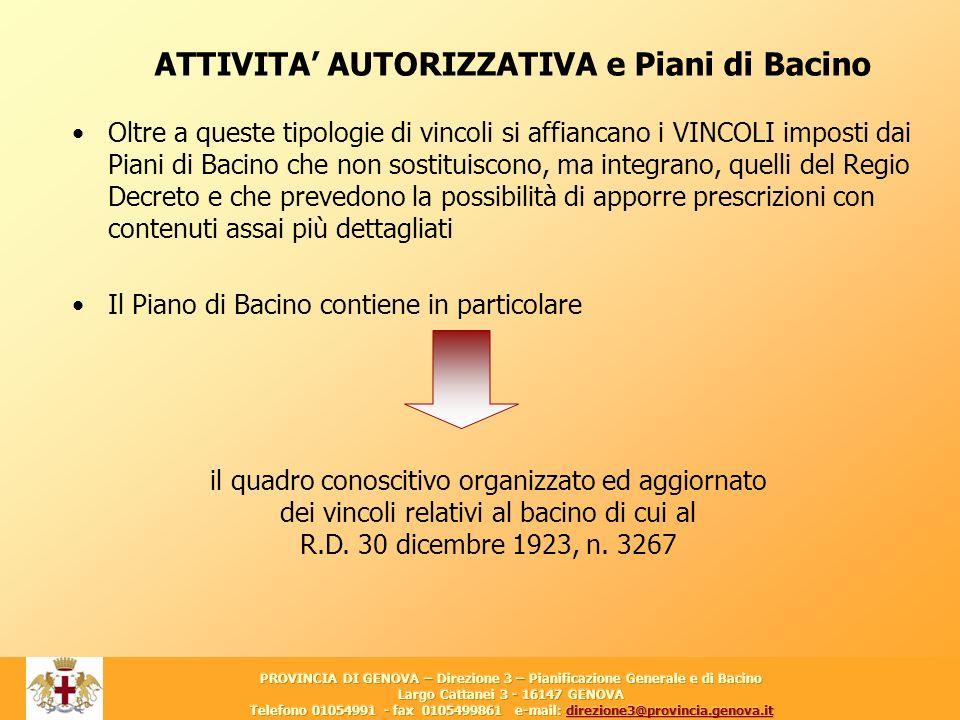 2 Oltre a queste tipologie di vincoli si affiancano i VINCOLI imposti dai Piani di Bacino che non sostituiscono, ma integrano, quelli del Regio Decret