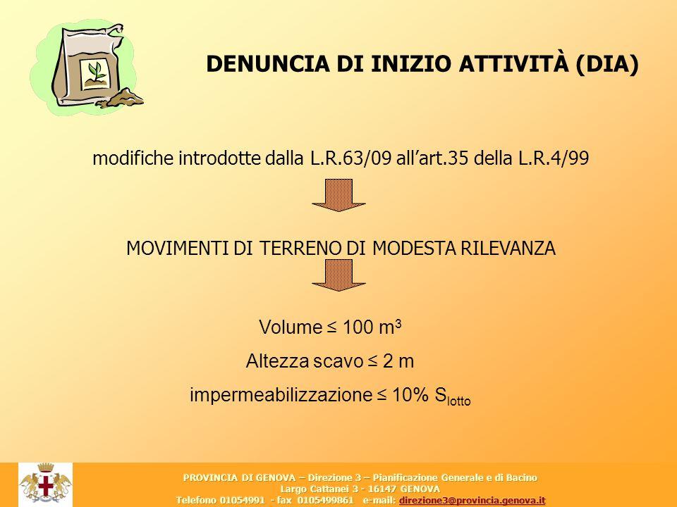 20 DENUNCIA DI INIZIO ATTIVITÀ (DIA) modifiche introdotte dalla L.R.63/09 allart.35 della L.R.4/99 MOVIMENTI DI TERRENO DI MODESTA RILEVANZA Volume 10
