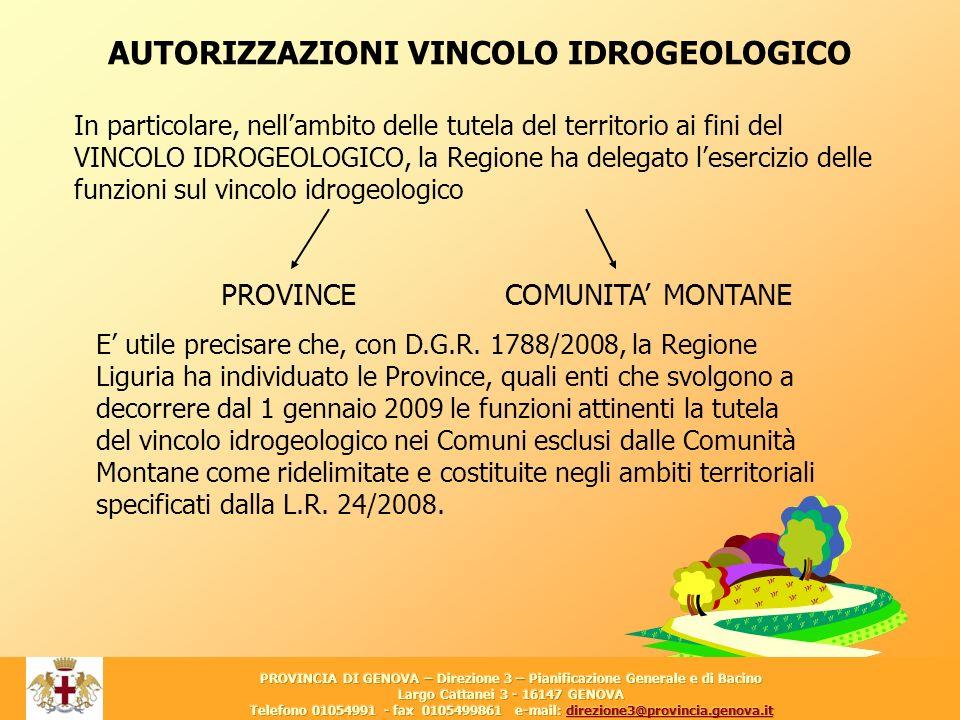 3 AUTORIZZAZIONI VINCOLO IDROGEOLOGICO In particolare, nellambito delle tutela del territorio ai fini del VINCOLO IDROGEOLOGICO, la Regione ha delegat