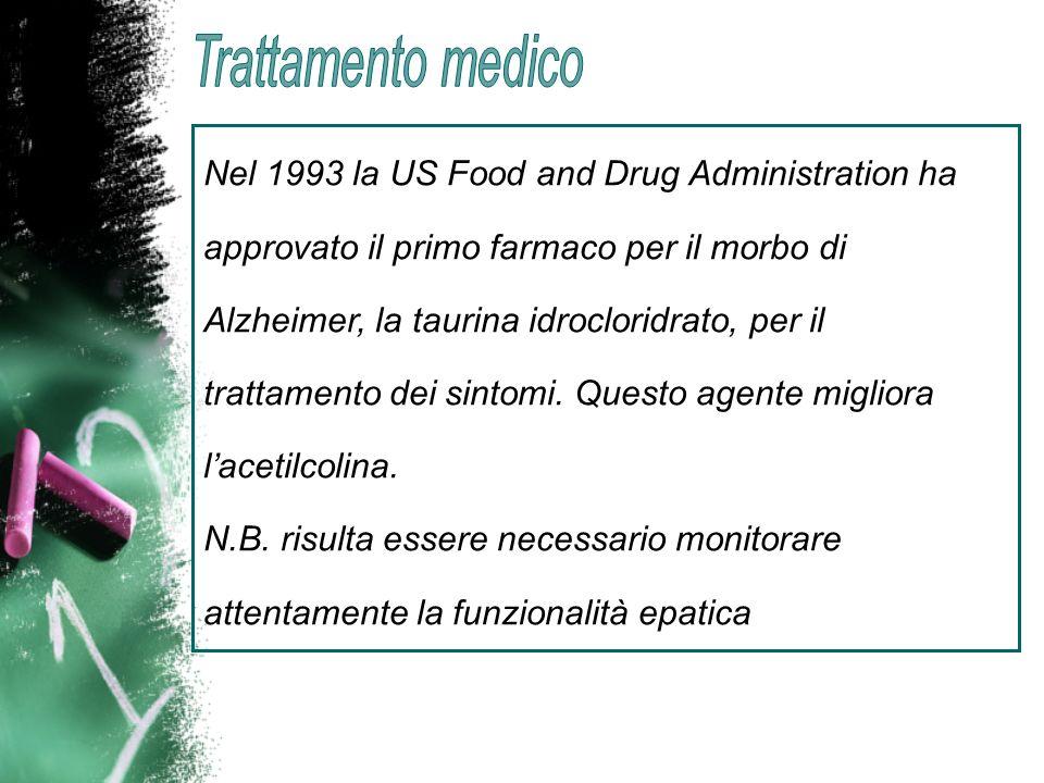 Nel 1993 la US Food and Drug Administration ha approvato il primo farmaco per il morbo di Alzheimer, la taurina idrocloridrato, per il trattamento dei