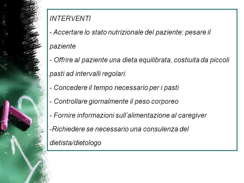 INTERVENTI - Accertare lo stato nutrizionale del paziente: pesare il paziente - Offrire al paziente una dieta equilibrata, costiuita da piccoli pasti ad intervalli regolari.