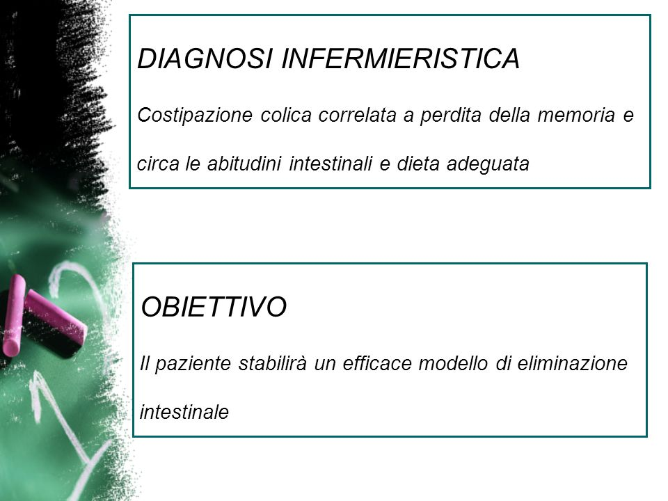DIAGNOSI INFERMIERISTICA Costipazione colica correlata a perdita della memoria e circa le abitudini intestinali e dieta adeguata OBIETTIVO Il paziente stabilirà un efficace modello di eliminazione intestinale