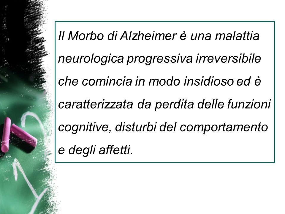 Il Morbo di Alzheimer è una malattia neurologica progressiva irreversibile che comincia in modo insidioso ed è caratterizzata da perdita delle funzion