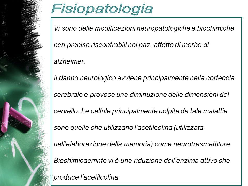 Vi sono delle modificazioni neuropatologiche e biochimiche ben precise riscontrabili nel paz. affetto di morbo di alzheimer. Il danno neurologico avvi