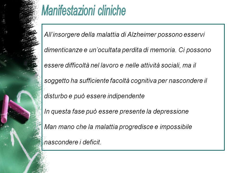 Allinsorgere della malattia di Alzheimer possono esservi dimenticanze e unocultata perdita di memoria. Ci possono essere difficoltà nel lavoro e nelle
