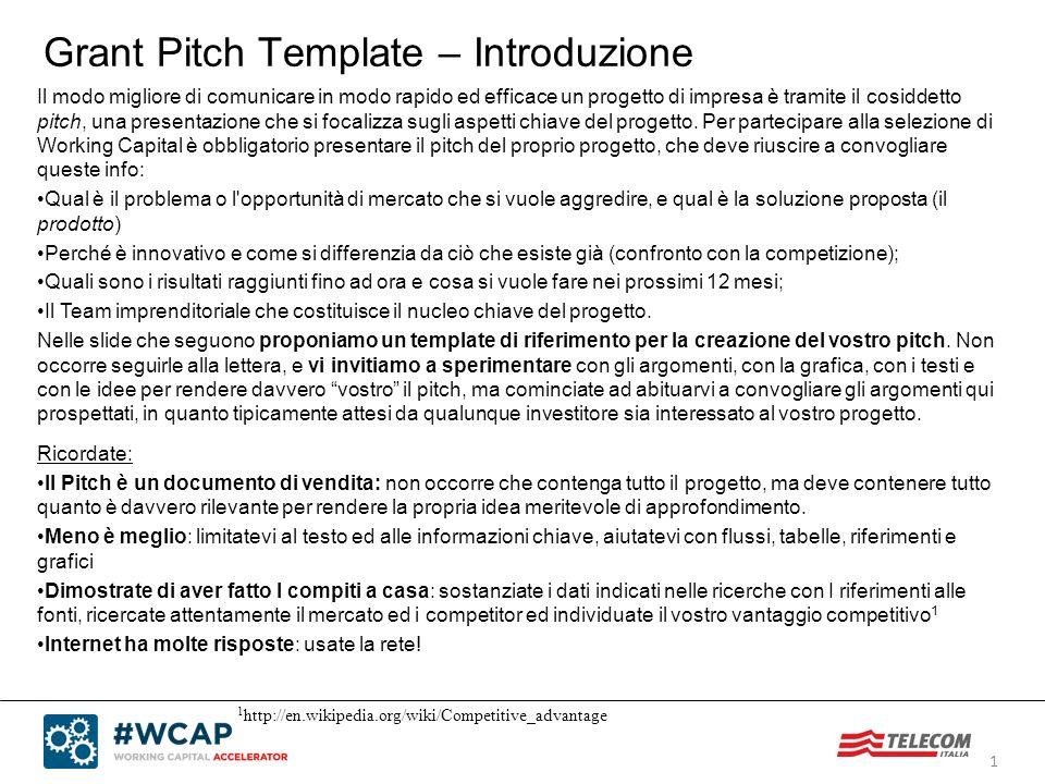 1 Grant Pitch Template – Introduzione Ricordate: Il Pitch è un documento di vendita: non occorre che contenga tutto il progetto, ma deve contenere tut