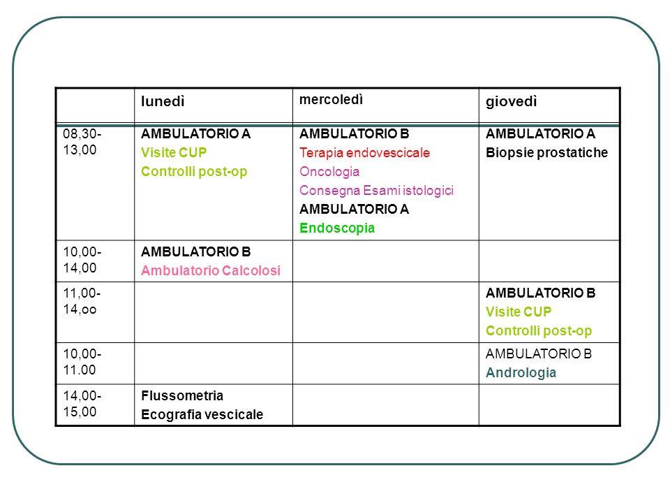 lunedì mercoledì giovedì 08,30- 13,00 AMBULATORIO A Visite CUP Controlli post-op AMBULATORIO B Terapia endovescicale Oncologia Consegna Esami istologi