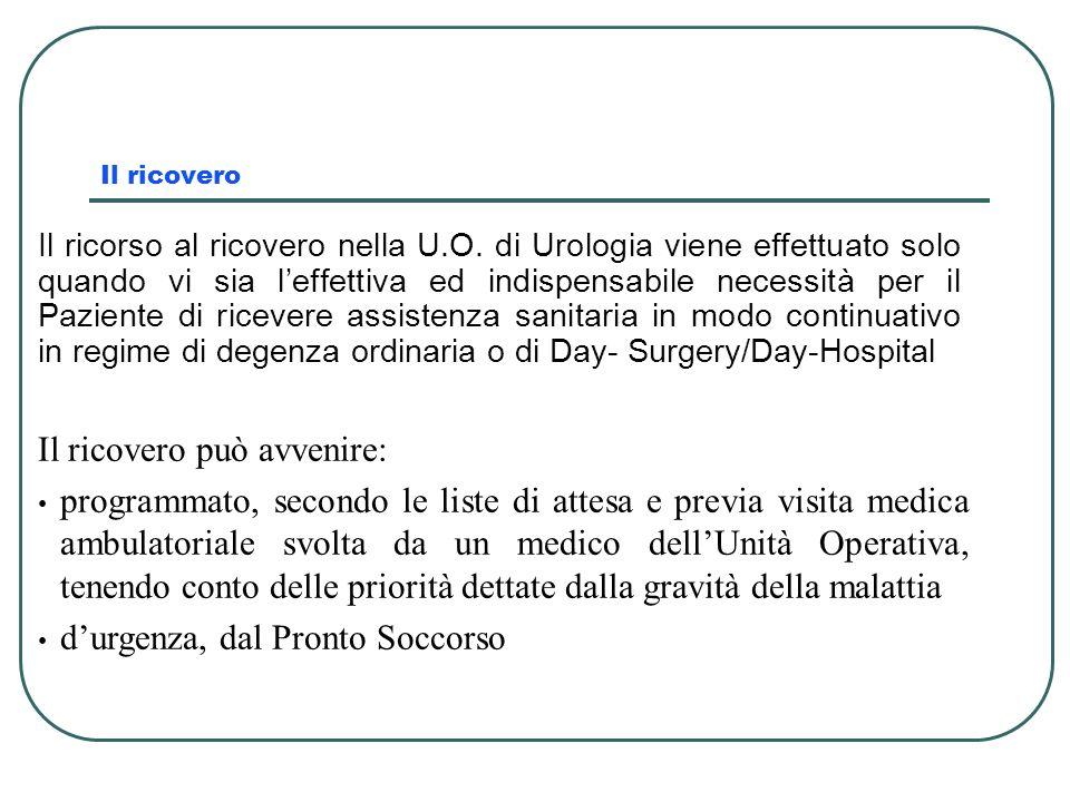 Il ricovero Il ricorso al ricovero nella U.O. di Urologia viene effettuato solo quando vi sia leffettiva ed indispensabile necessità per il Paziente d