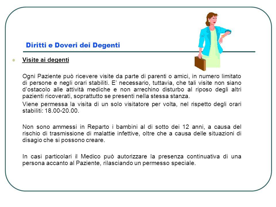 Diritti e Doveri dei Degenti Visite ai degenti Ogni Paziente può ricevere visite da parte di parenti o amici, in numero limitato di persone e negli or