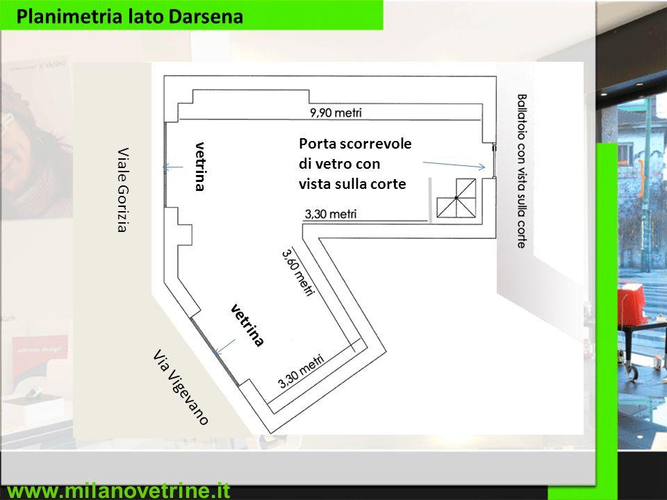 www.milanovetrine.it Planimetria lato Darsena Viale Gorizia Via Vigevano vetrina Porta scorrevole di vetro con vista sulla corte