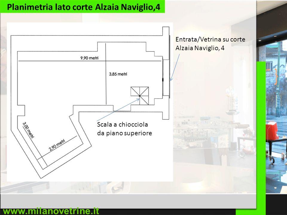 www.milanovetrine.it Planimetria lato corte Alzaia Naviglio,4 Scala a chiocciola da piano superiore Entrata/Vetrina su corte Alzaia Naviglio, 4