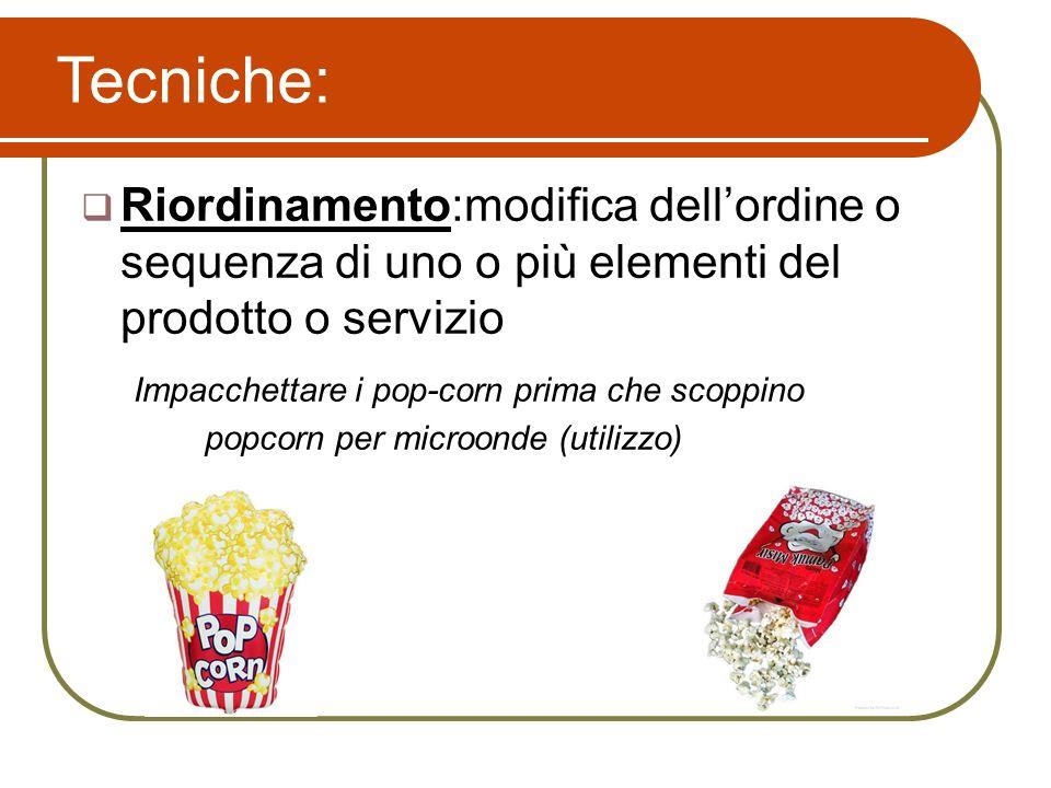 Riordinamento:modifica dellordine o sequenza di uno o più elementi del prodotto o servizio Impacchettare i pop-corn prima che scoppino popcorn per mic