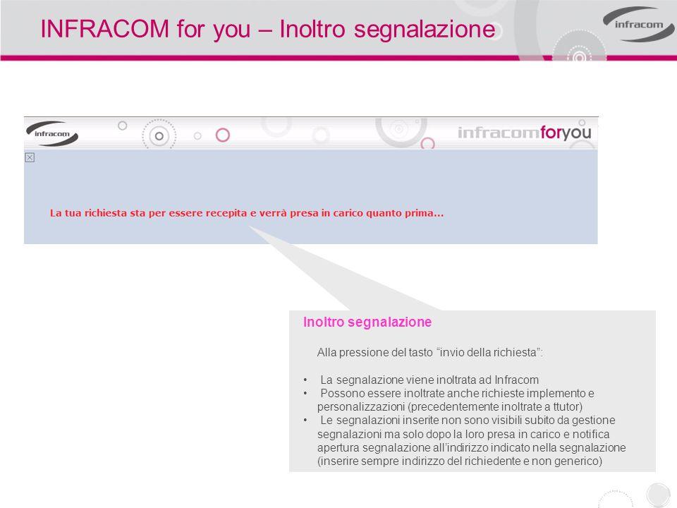 INFRACOM for you – Inoltro segnalazione Inoltro segnalazione Alla pressione del tasto invio della richiesta: La segnalazione viene inoltrata ad Infrac