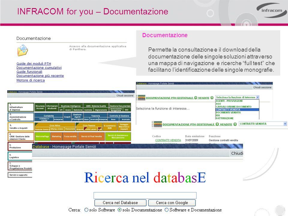 INFRACOM for you – Documentazione Documentazione Permette la consultazione e il download della documentazione delle singole soluzioni attraverso una m
