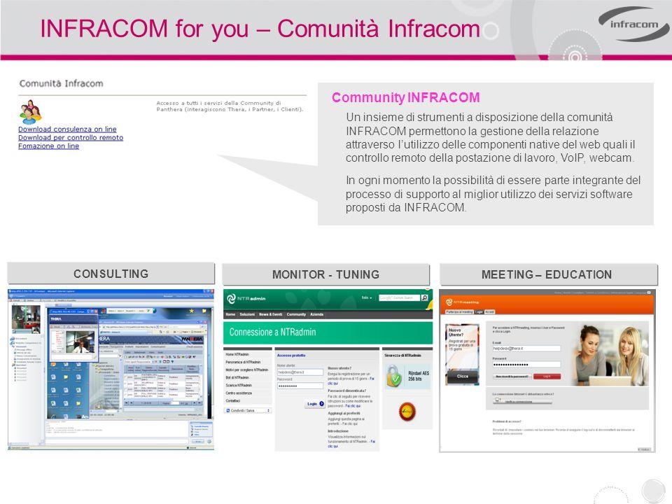 INFRACOM for you – Comunità Infracom Community INFRACOM Un insieme di strumenti a disposizione della comunità INFRACOM permettono la gestione della re