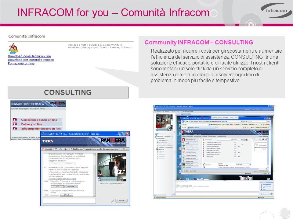 INFRACOM for you – Comunità Infracom Community INFRACOM – CONSULTING Realizzato per ridurre i costi per gli spostamenti e aumentare l'efficienza del s