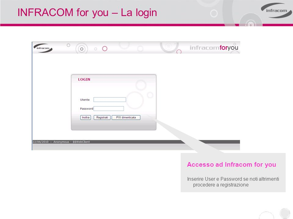 INFRACOM for you – La login Accesso ad Infracom for you Inserire User e Password se noti altrimenti procedere a registrazione