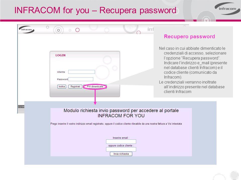 INFRACOM for you – Recupera password Recupero password Nel caso in cui abbiate dimenticato le credenziali di accesso, selezionare lopzione Recupera pa